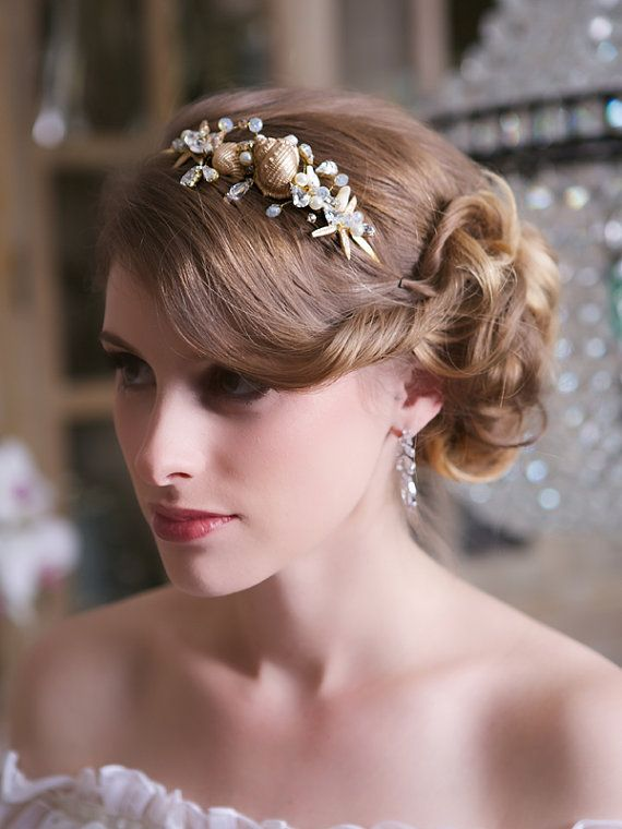 Beach Wedding Starfish Headband Gold Seashell Headpiece Crystal Hair Accessories