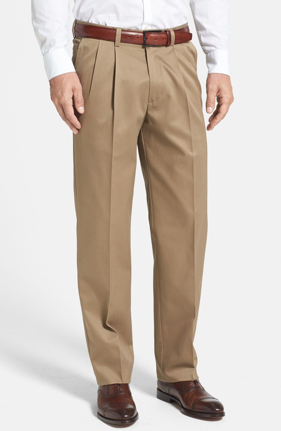 Nordstrom Smartcare™ Relaxed Fit Double Pleated Cotton ...