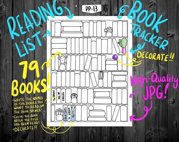 Bullet Journal  Bookshelf  Books  Reading  Printable    Etsy