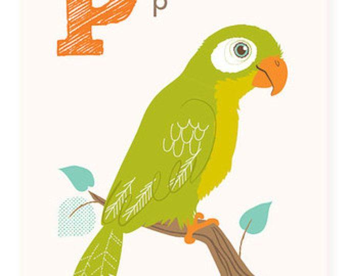 ABC card, P is for Parrot, ABC wall art, alphabet flash cards ...
