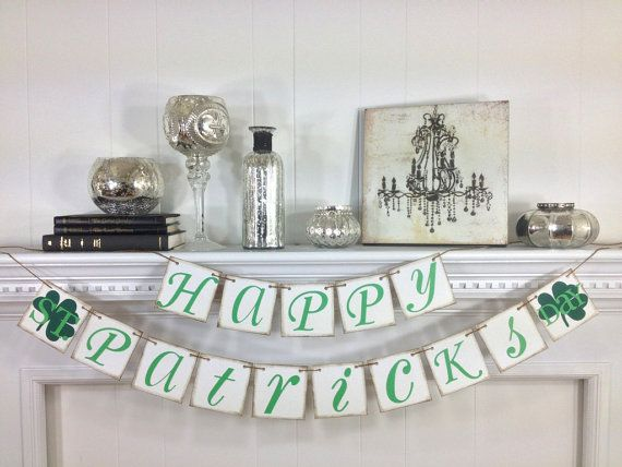St Patricks Day Decoration Banner  Happy St by ABannerAffair on Etsy.