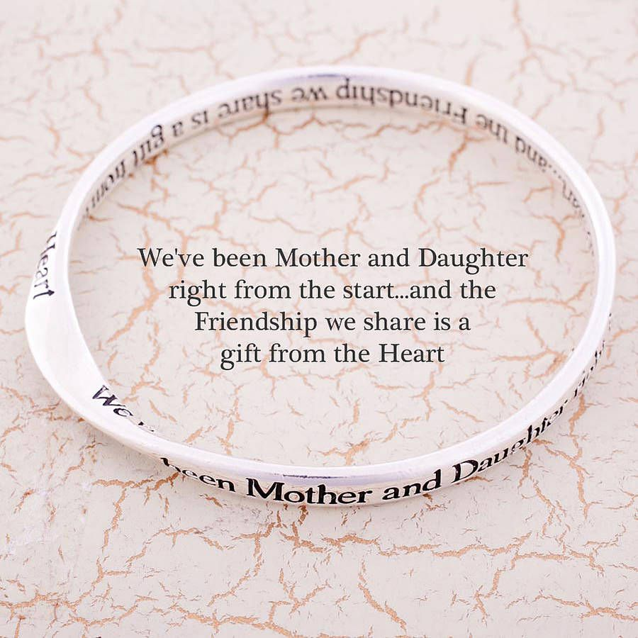 Mother And Daughter Message Bangle From Notonthehighstreet