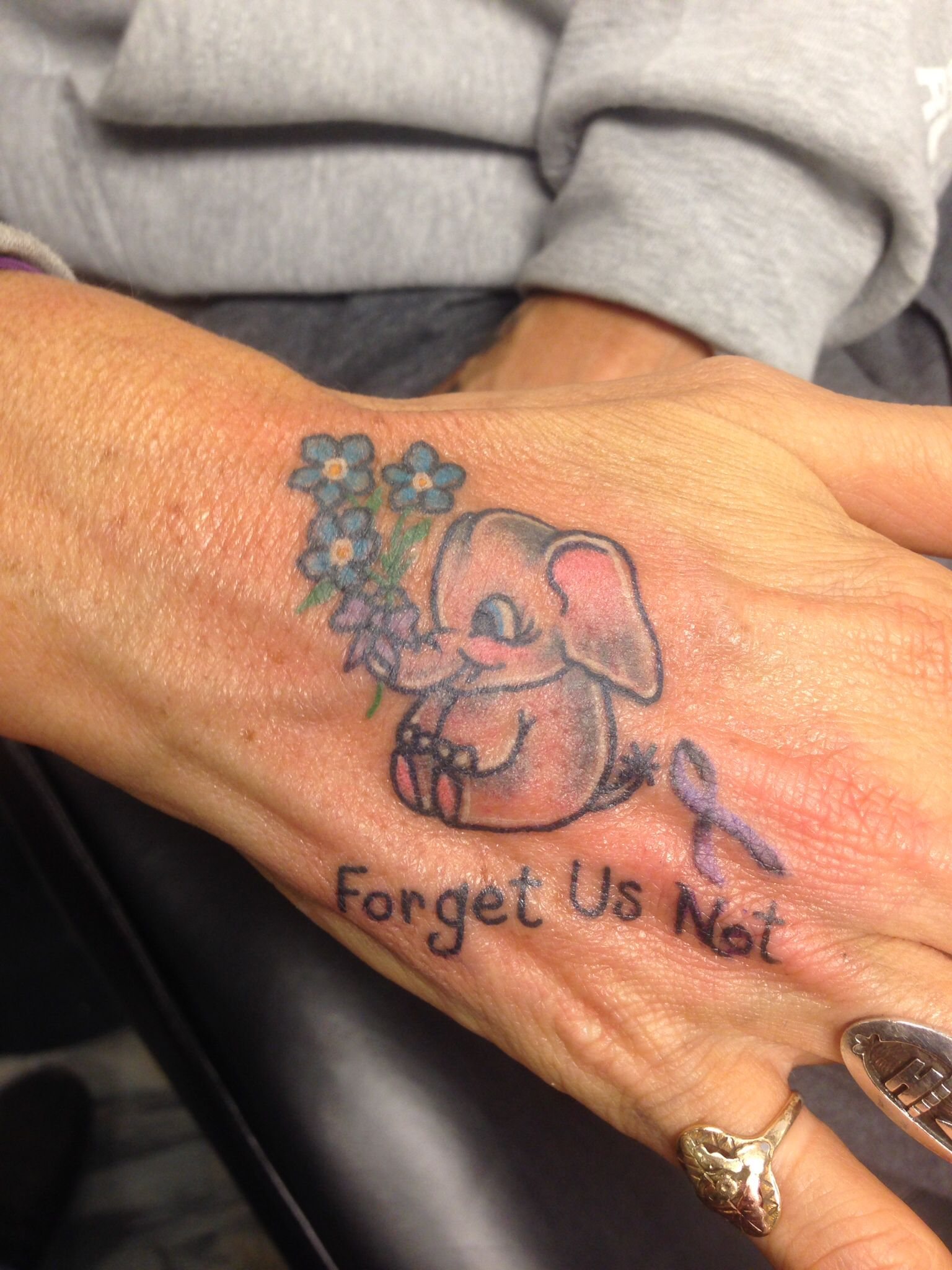 Elephant never forgets Forget me not flowers *tattoo* with ...