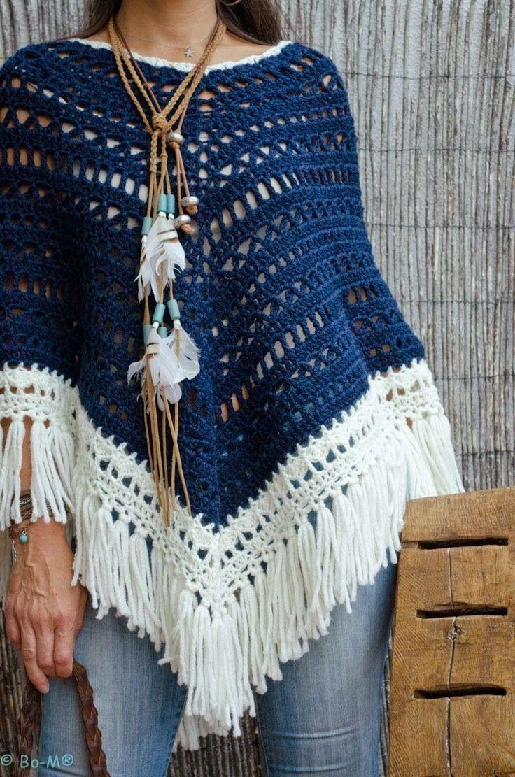 Pin de Crochet Rosita en Poncho patterns | Pinterest | Ponchos, Chal ...
