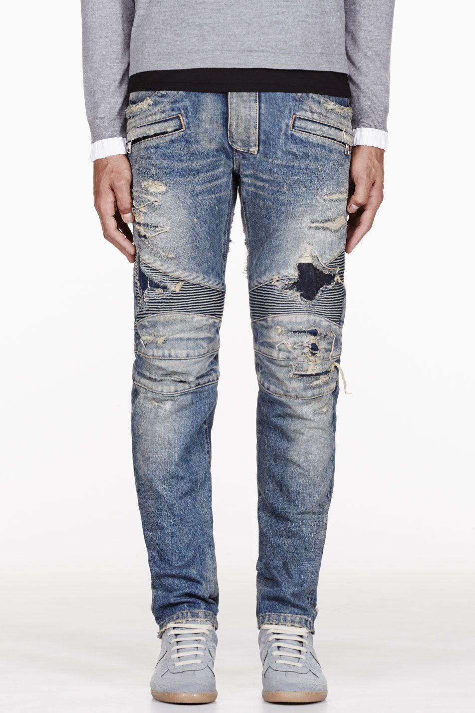 e5965499 BALMAIN Blue DESTROYED BIKER JEANS | Style | Biker jeans, Jeans ...