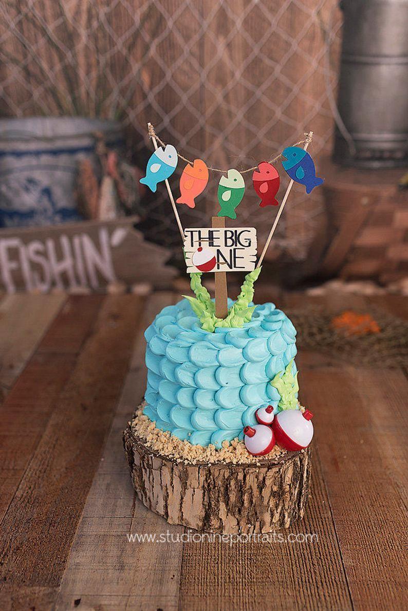 Fishing first birthday cake topper gone fishing topper