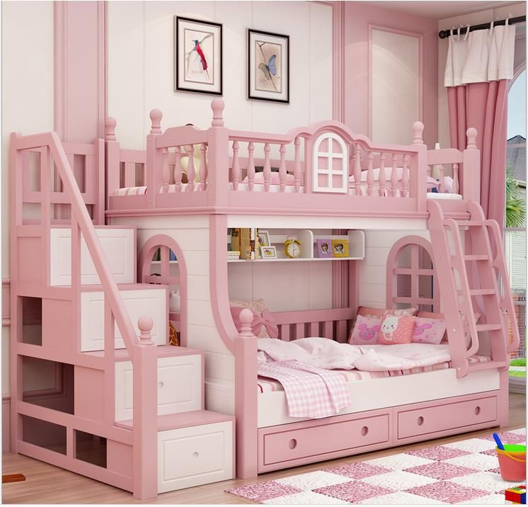 1500 1900mm Bunk Bed Pink Childern Bed Solid Wood Bady Fluctuation