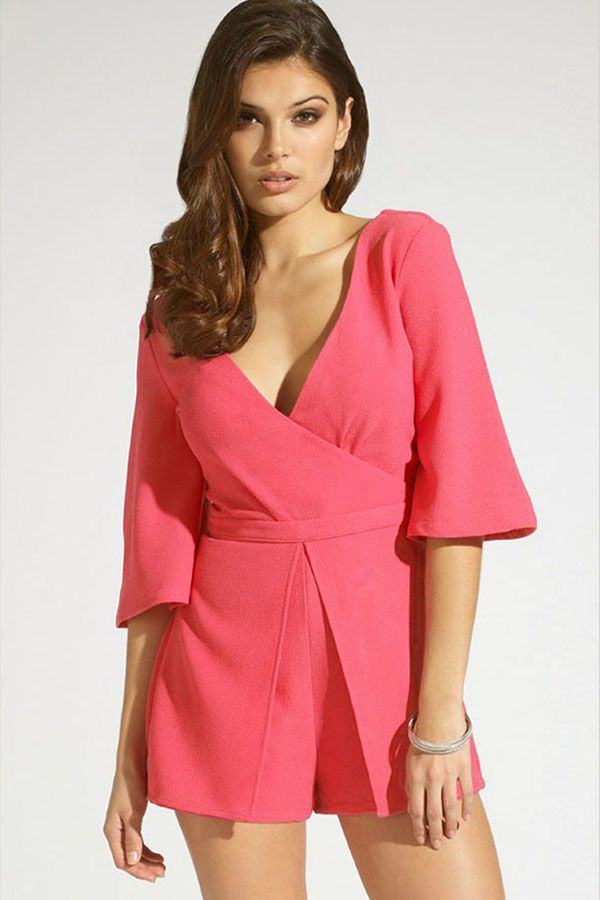 f0c212414f5d Fuchsia V Neck Half Sleeve Romper  27.99 We totally love rompers for  Summer! It features v neck