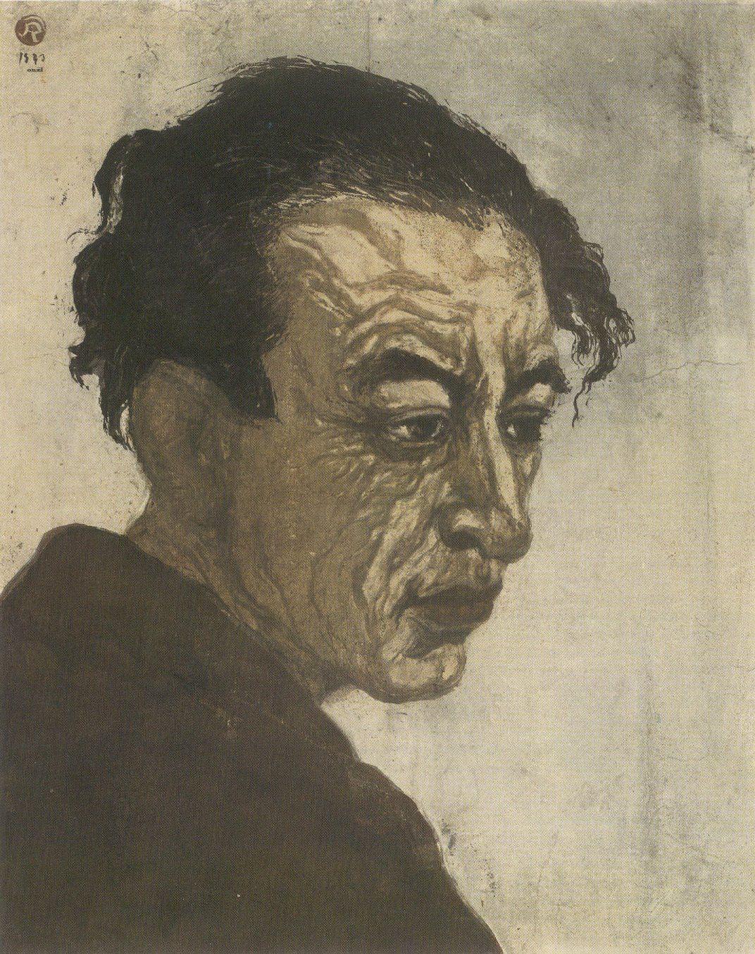 portrait of hagiwara sakutaro woodblock print by onchi koshiro 1943 1st edition national museum mod portrat ideen holzschnitt fur moderne kunst bilder auf leinwand malen