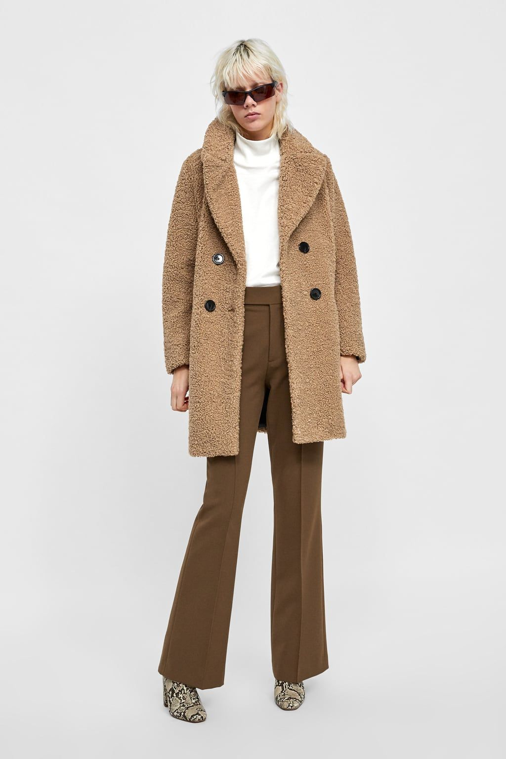 76614dea Image 1 of SHEARLING TEXTURED COAT from Zara | pretty ideas! | Faux ...