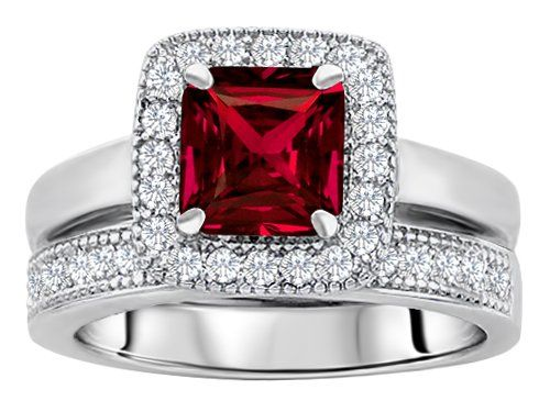 original star ktm 6mm square cut created ruby engagement wedding set in 925 - Ruby Wedding Ring Sets