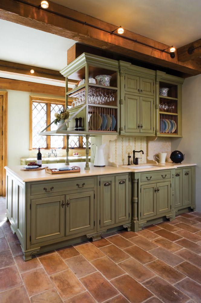 Wraparound Peninsula Distressed Kitchen Cabinets Green
