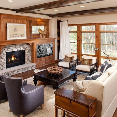 Tv And Fireplace In Horizontal Array Possible In Studio Opposite Sofa Situate In Relationship To Wi Traditional Family Rooms Furniture Layout Family Room