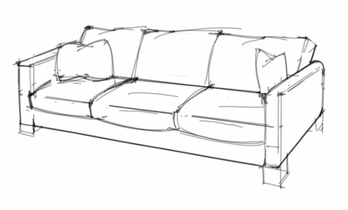Id render how to draw a sofa that looks comfortable for Table design sketch