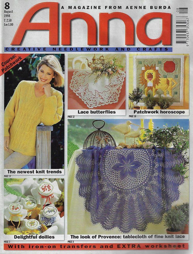 Anna Burda Knitting Needlecrafts Magazine Aug 1998 Knitting