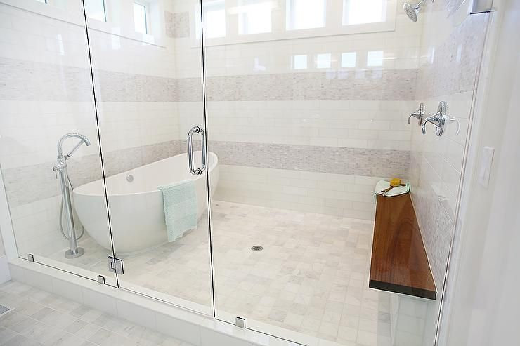 Egg Shaped Tub In Walk In Shower Contemporary Bathroom Walk In Shower Bathrooms Remodel Amazing Bathrooms