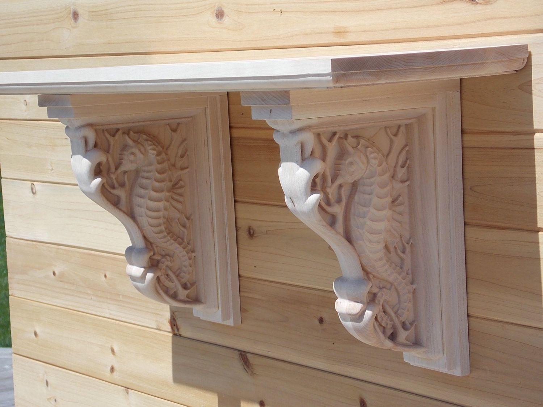 seahorse corbels 6 deep floating shelf wood wall art beach decor shelf bracket bathroom. Black Bedroom Furniture Sets. Home Design Ideas