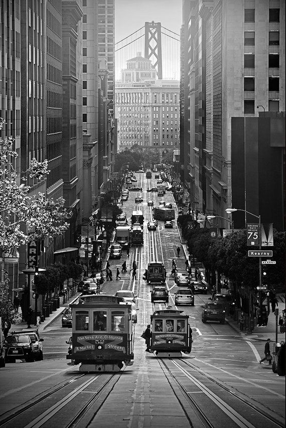 San Francisco Bridge Photography // California Street // Modern Wall Art // Black and White Photography // Mid Century Vintage // Historical