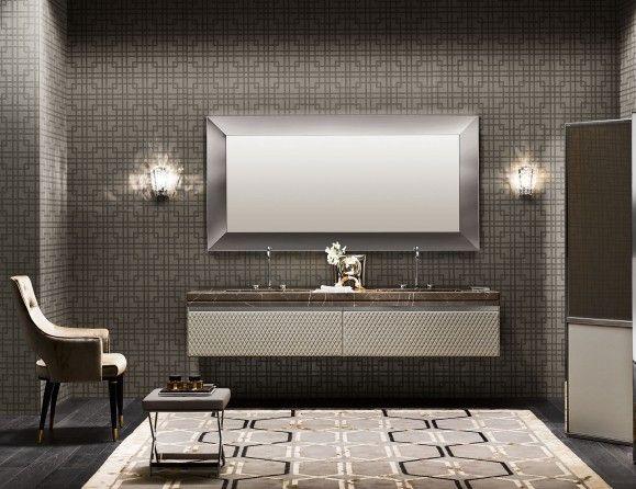 Milldue Four Seasons 02 Agata Leather Luxury Italian Bathroom Vanities Italyanskaya Vannaya Roskoshnye Vannye Komnaty Zerkala Dlya Vannyh Komnat