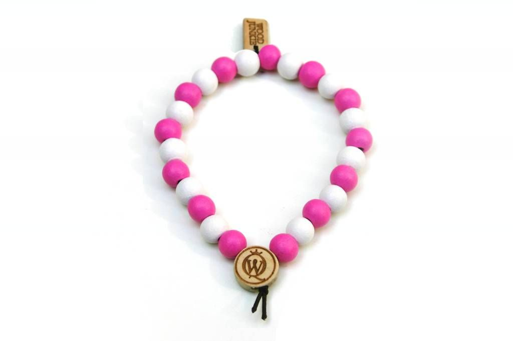 Wood Junkie Pearl Bracelets 9mm Pink/ White with 2 Logos - Urban Classics-Shop.nl