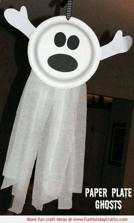 Paper Plate Ghosts Halloween DIY winter projects Pinterest