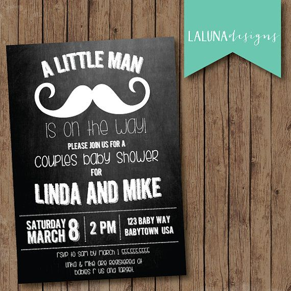 Couples Baby Shower Invitation, Mustache Chalkboard Baby Shower Invite, Baby  Boy, Little Man