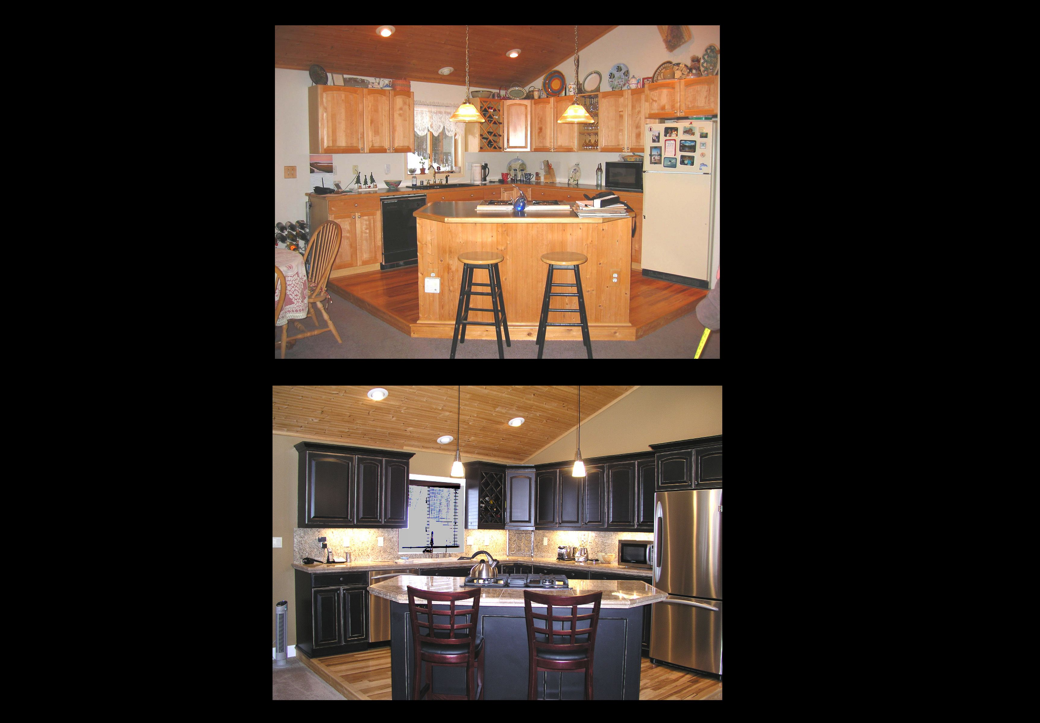 distressed painted cabinets & molding (plus appliances ...