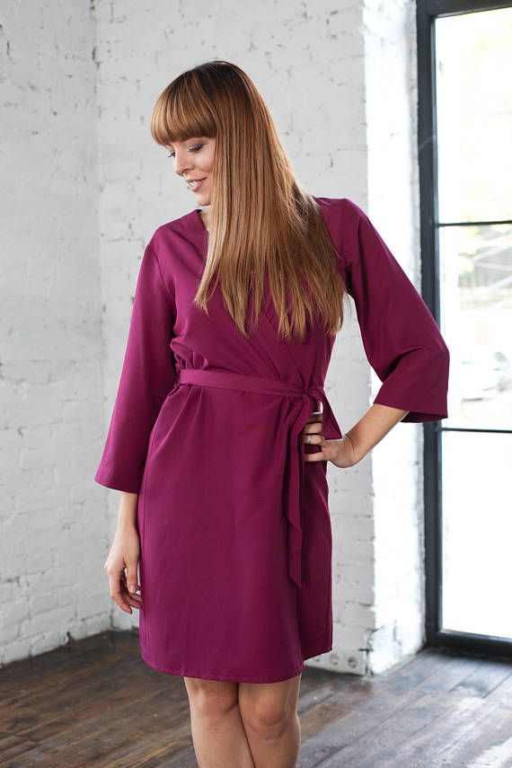 Purple Dressing Gown, Burgundy Bridesmaid Robe, Wine Bridal Robe ...