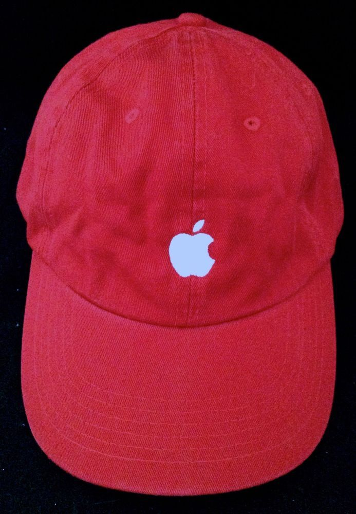 05abd1a4 New Apple Computer Red Baseball Cap Hat Employee Adjustable White Stitched  Logo #QuakeCityCaps #BaseballCap
