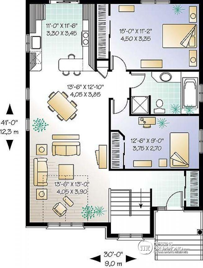 W3312 mod le de maison avec 2 grandes chambres salle for Plan amenagement salon salle a manger