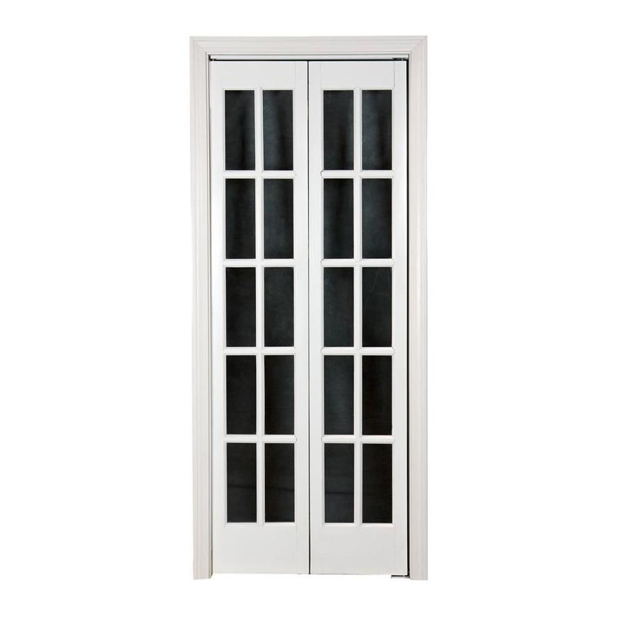 Pinecroft Classic French White Solid Core 10 Lite Pine Bi Fold Closet Interior Door Common 36 In X 80 Bifold Door Hardware French Doors Interior Bifold Doors