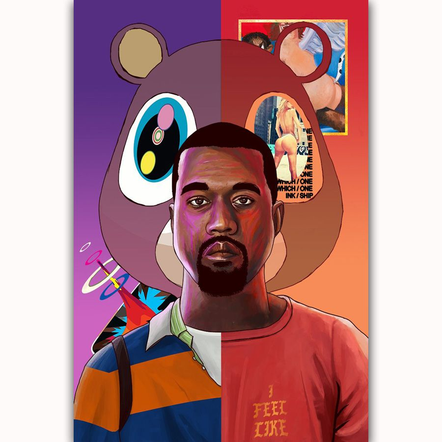 Kanye West Yezzy Usa Grammy Rap Music Cover Album Paws Silk Canvas Poster Home Decoration Wall Picture Print Pric Music Art Print Print Pictures Poster Prints