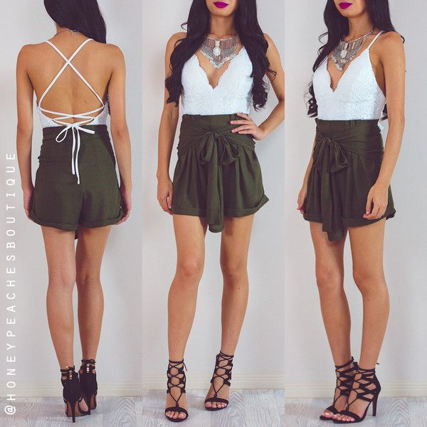 Standing Strong High Waisted Shorts - Khaki ($56) ❤ liked on ...
