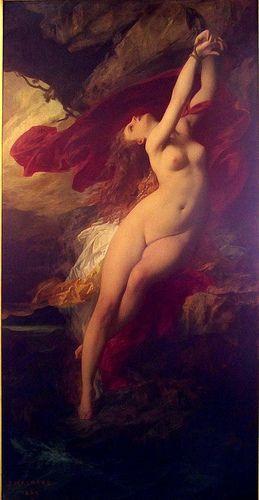«Angélique attachée au rocher» Jules Machard (1839-1900), huile sur toile,