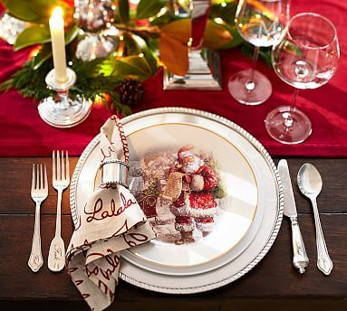 nostalgic santa salad plate mixed set of 4 potterybarn