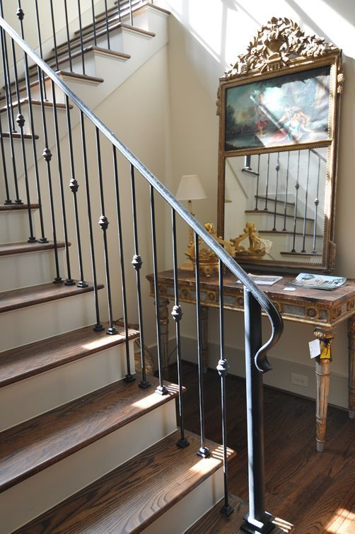 Stylsish Iron Handrail And Banister For A Traditional Staircase In 2020 Wrought Iron Staircase Wrought Iron Stair Railing Iron Stair Railing