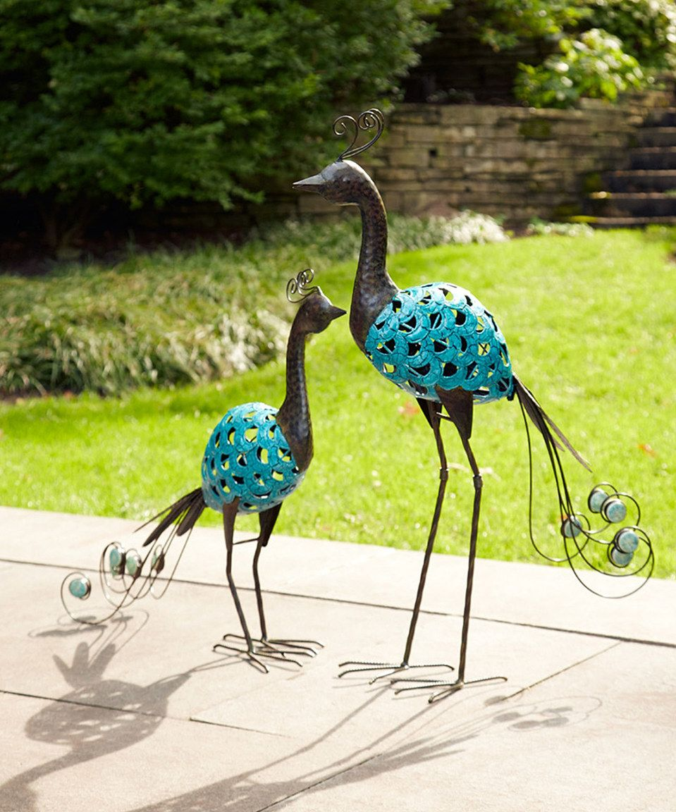 Turquoise Peacock Garden Statue   Set Of Two By