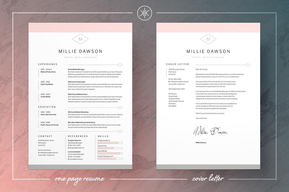 Resume Cv Millie Cover Letter For Resume Cover Letter Design Cv Cover Letter