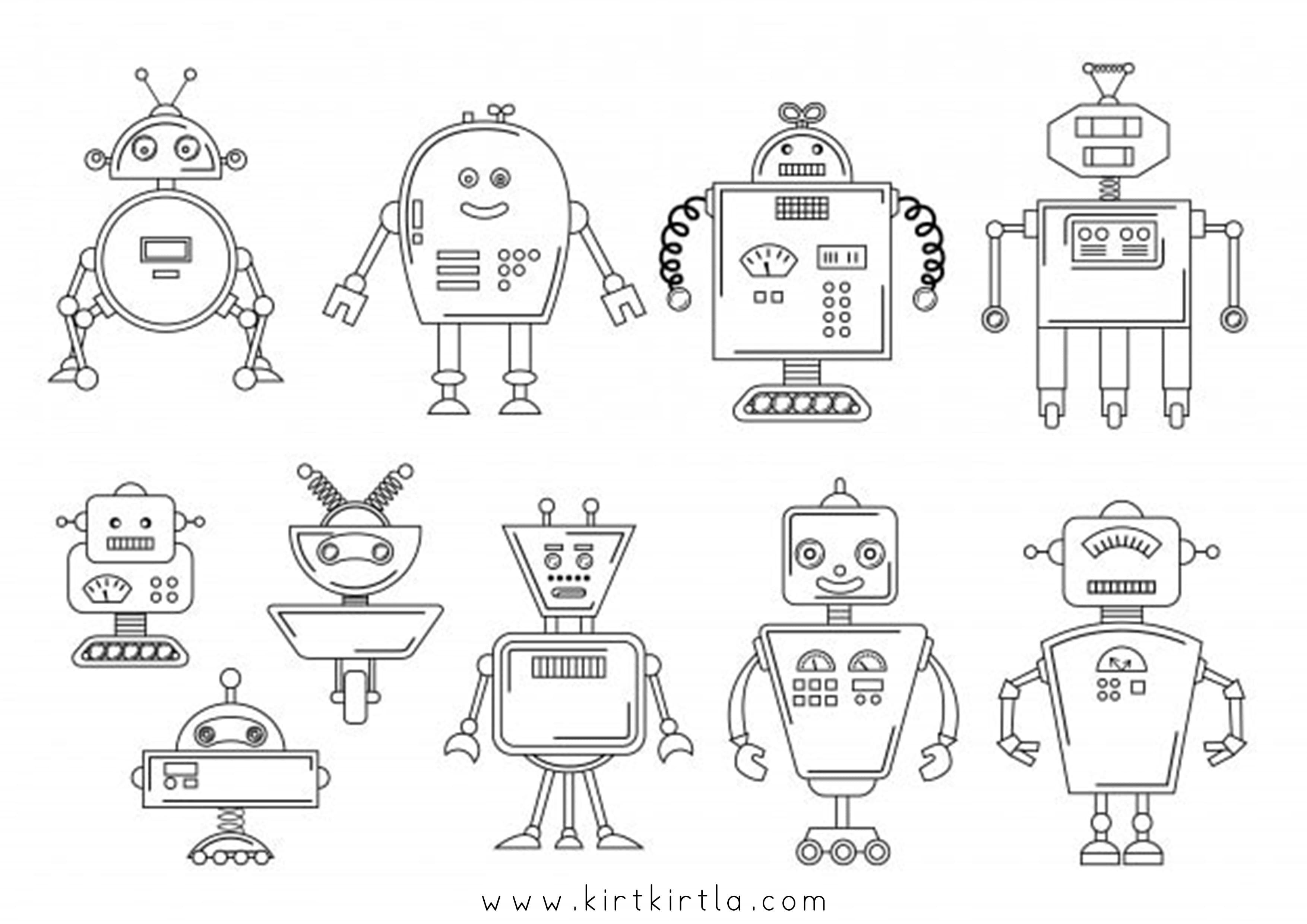 Robot Boyama Sayfalari Kirtkirtla Karakter Tasarimi Robot