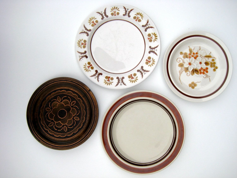 Vintage Wall Plates Vintage Plates Mismatched Plates Mod Plates Boho Plates Decorative