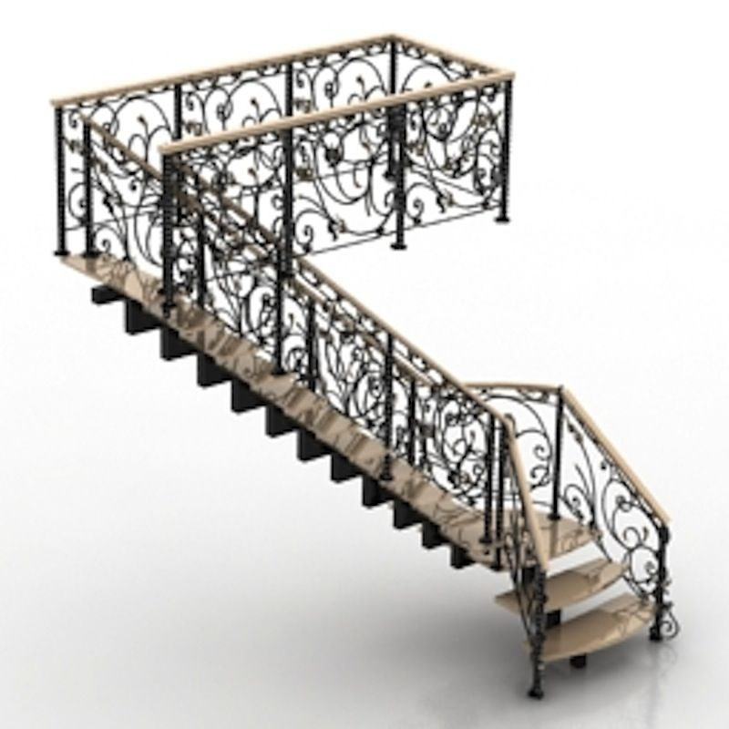 Best Wrought Iron Wrought Iron Staircase 3D Model With Floral 640 x 480