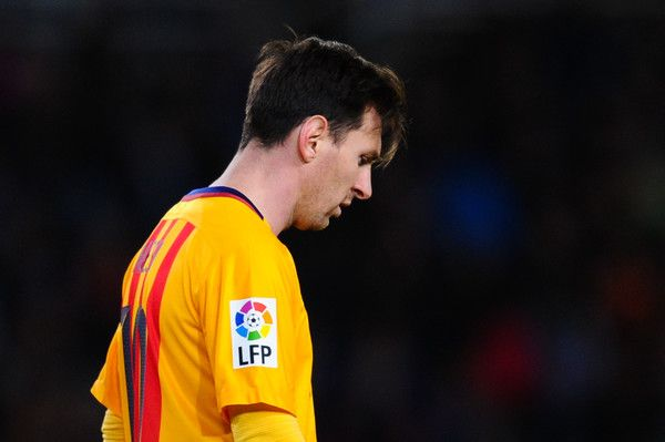 Lionel Messi of FC Barcelona looks on dejected during the La Liga match between Real Sociedad de Futbol and FC Barcelona at Estadio Anoeta on April 9, 2016 in San Sebastian