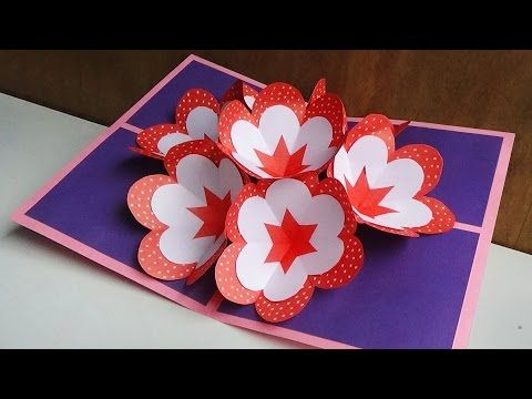 How To Make A 3d Flower Pop Up Card Youtube Pop Up Flowers Pop Up Cards Card Tutorial