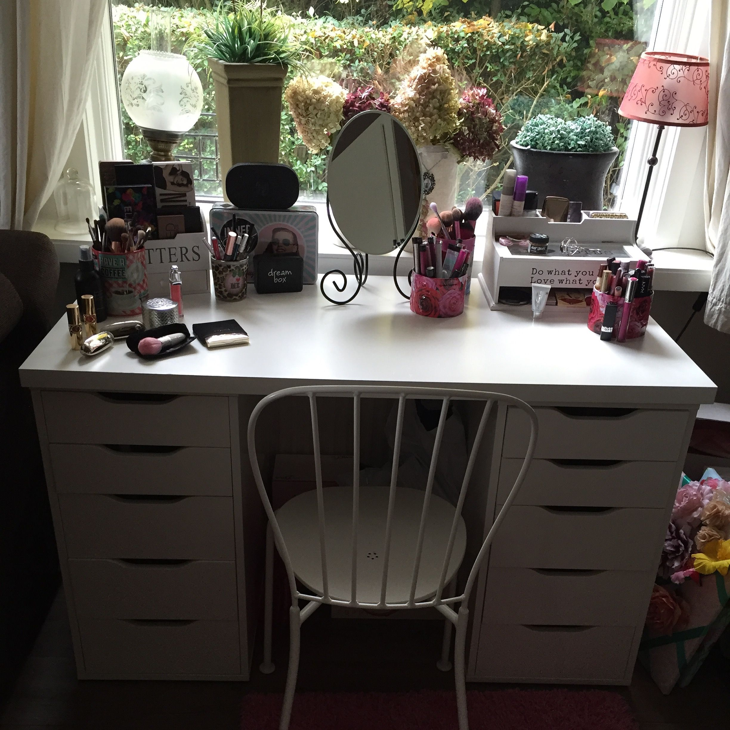 makeup storage two alex cabinets and one linnmon tabletop credit rh pinterest com