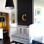 The simple yellow monogram C above the crib makes this room pop. #yellow #monogram #baby #nursery