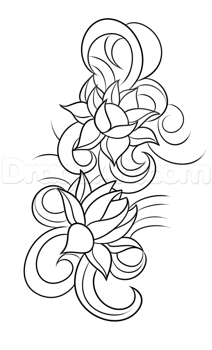 How To Draw A Lotus Flower Tattoo Step 5
