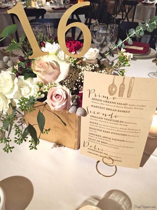 Wedding Decor printed our own menu to have on each able. Silverware stamp on the top edge. #wedding #weddingdecor #weddingmenu