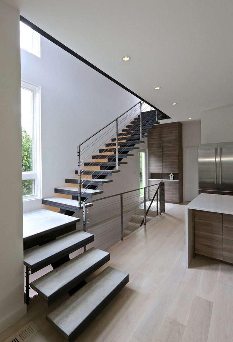 Best White Walls And Steel And Concrete Staircase Usual House 400 x 300