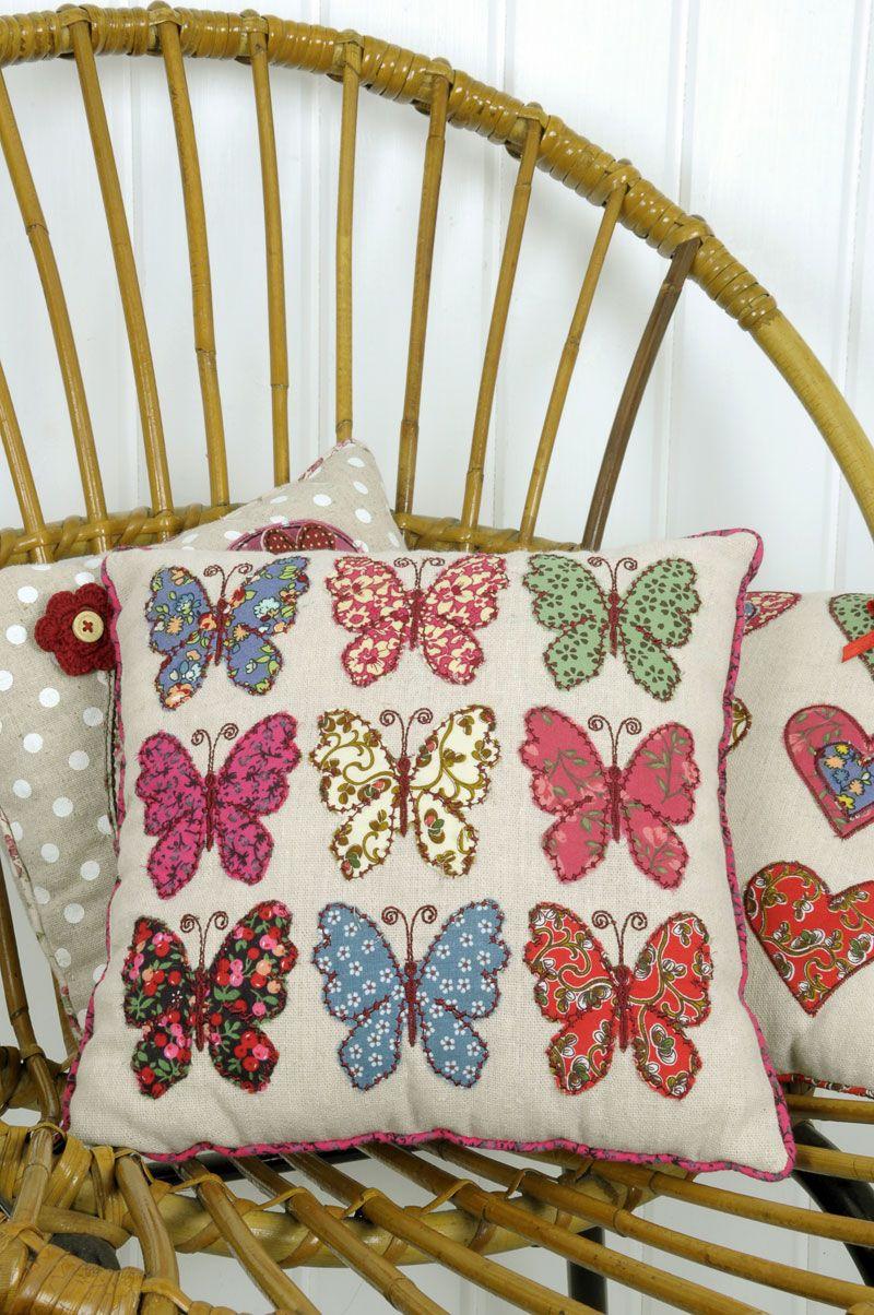 Patchwork cushion mariposas ideas para el hogar - Cojines de patchwork ...
