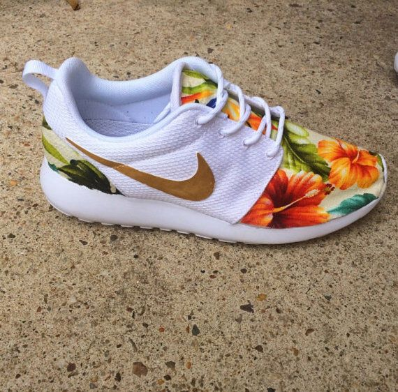 lowest price 7f5e8 02296 Tropical Print Custom Nike Roshe Run Sneakers with Gold Swoosh